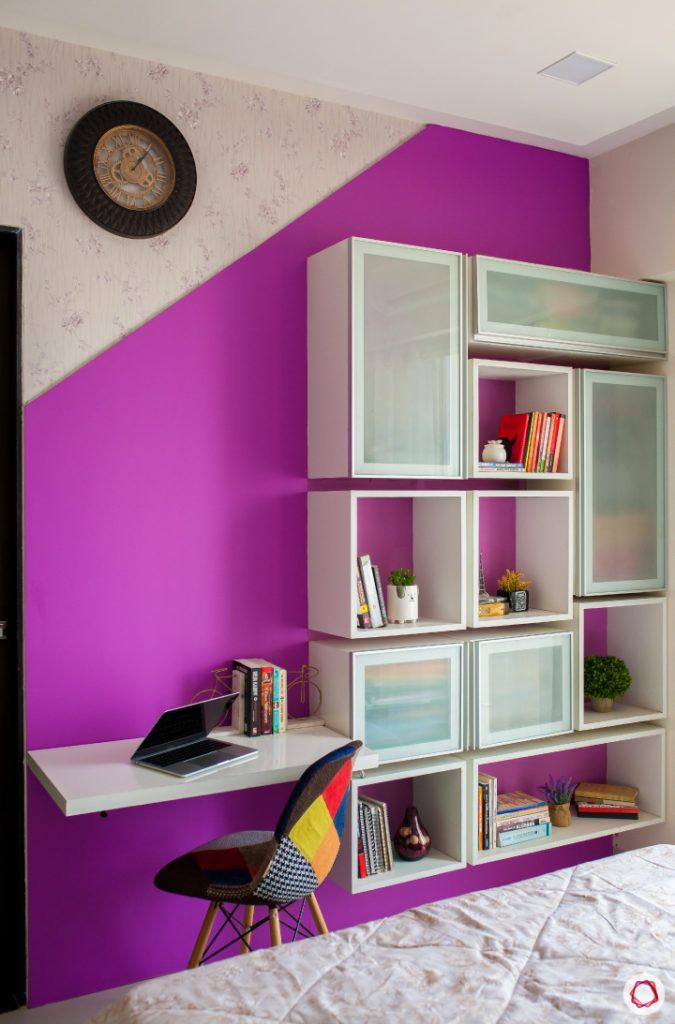 akshar elementa-compact study table-display shelves-purple wall