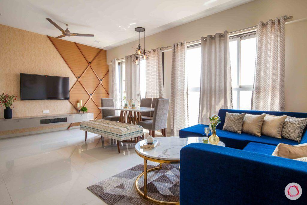 akshar elementa-living-cum-dining-room-neutral colours-printed curtains