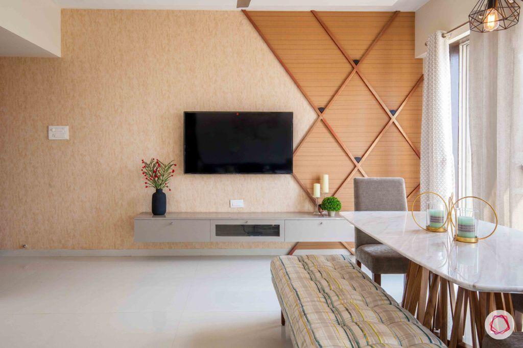 akshar elementa-tv unit-accent wall-wooden wallpaper-wooden panels