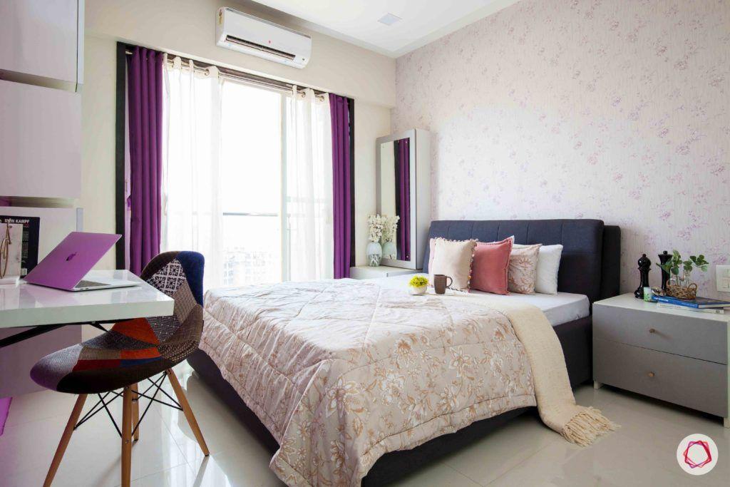 akshar elementa-master bedroom-layered drapes-printed wallpaper