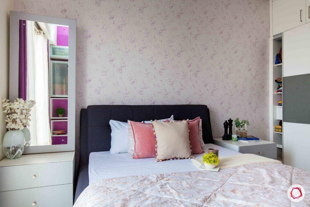 akshar elementa-floral wallpaper-grey upholstered bed