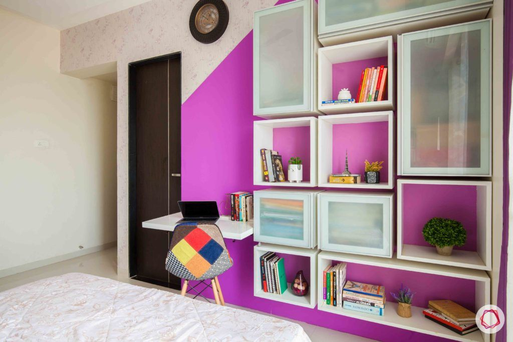 akshar elementa-work zone-purple wall paint-shelves-cabinets