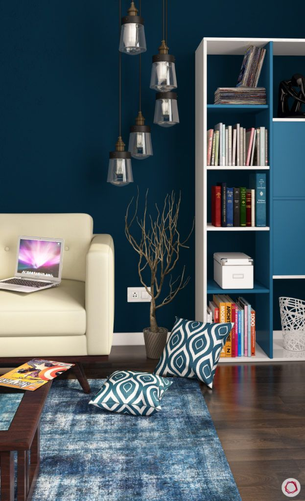 calming colors-navy blue wall paint-blue rug designs-blue cushion designs