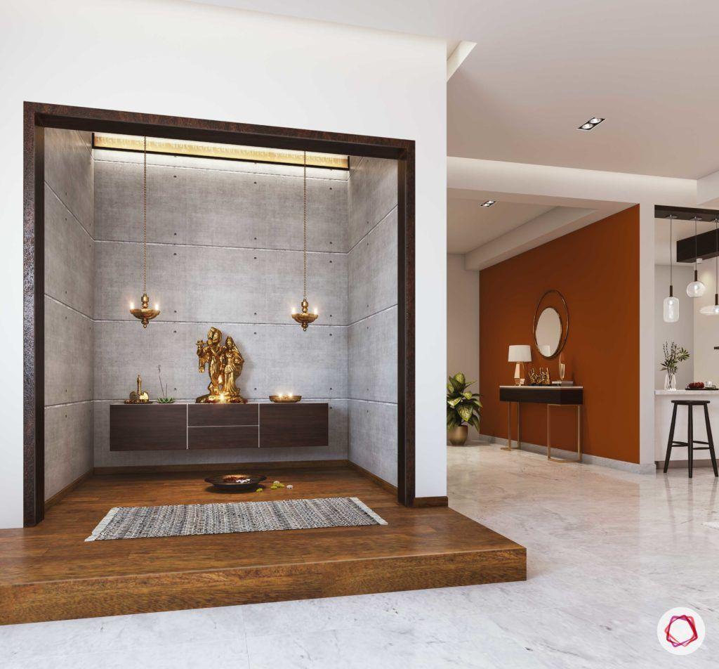 simple pooja mandir designs for walls_wooden floor_stone wall_wooden frame