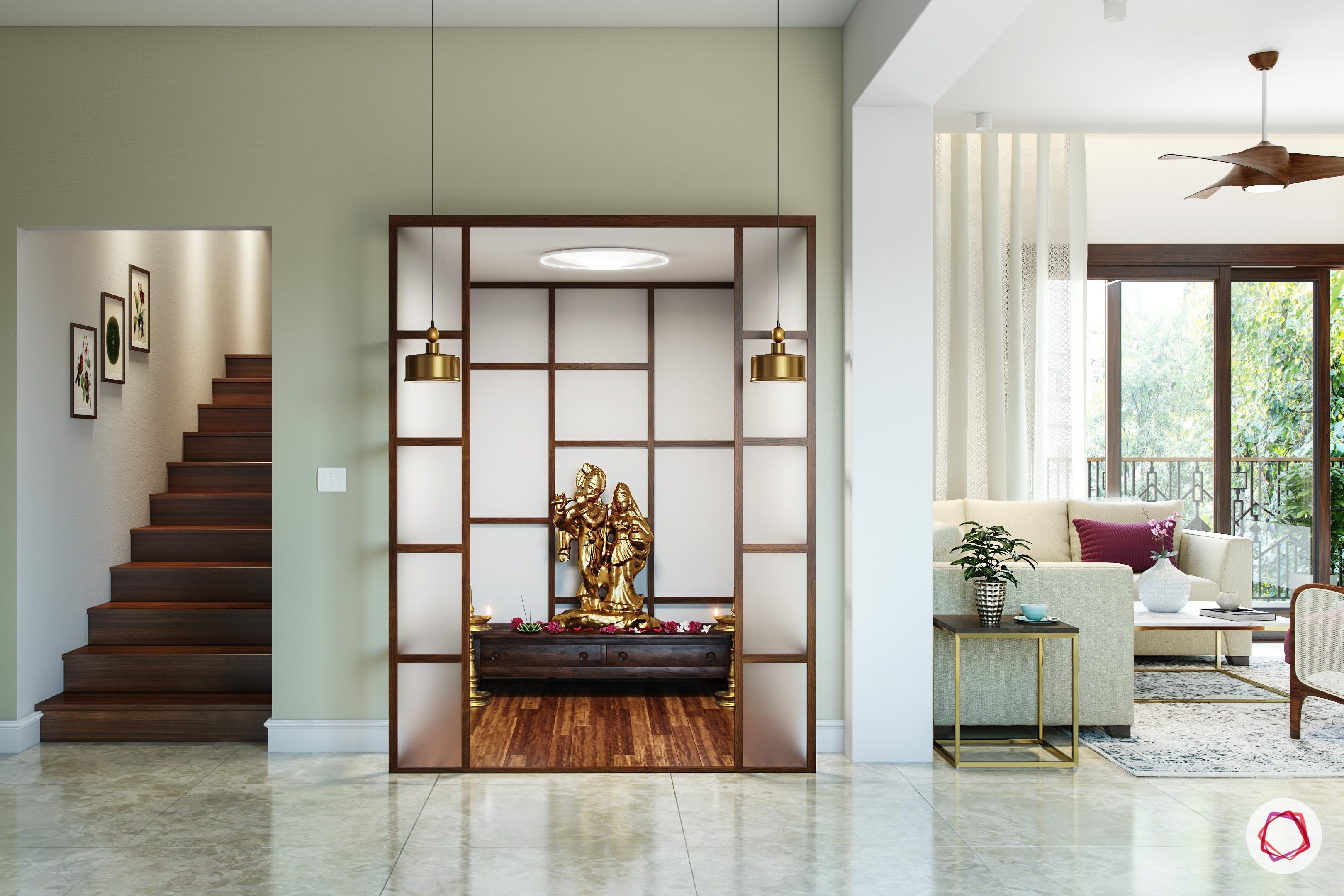 mandir design - frosted glass pooja room