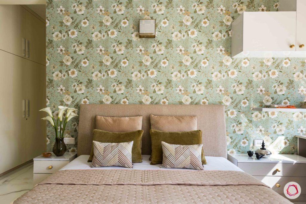 master-bedroom-floral-wallpaper-headboard-pillows-bed