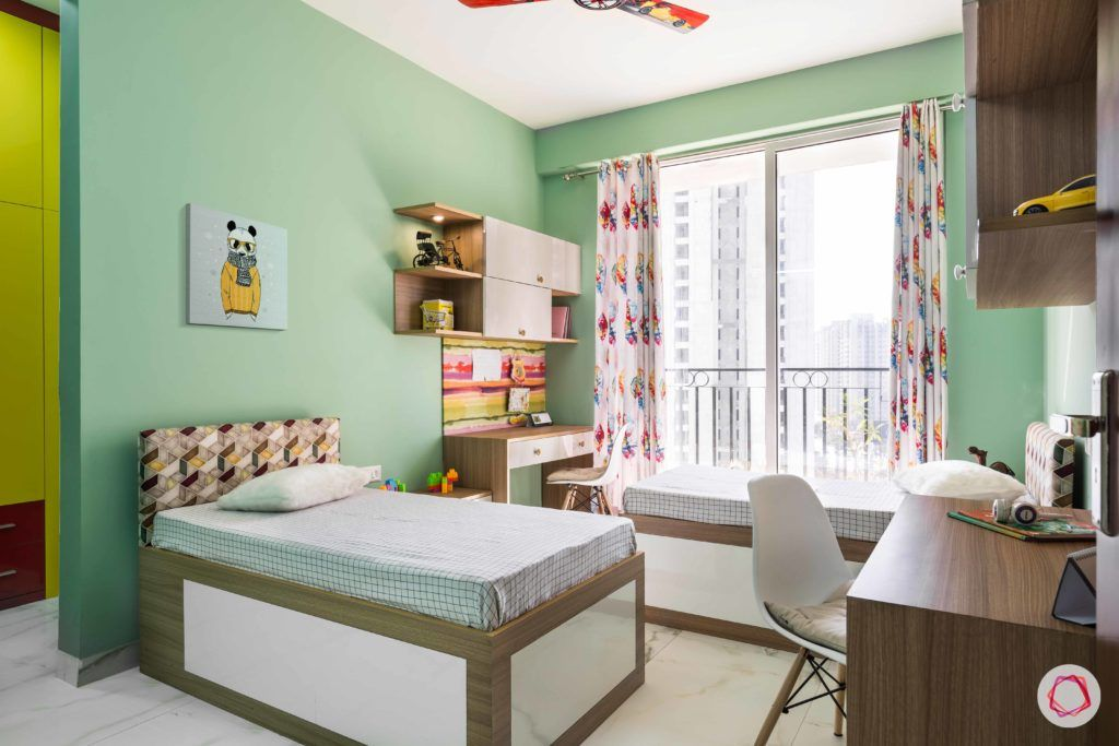 kids-bedroom-mint-green-paint-walls-study-table-beds