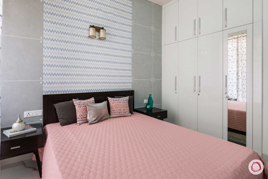 parents-bedroom-grey-wallpaper-paint-chevron-white-wardrobe