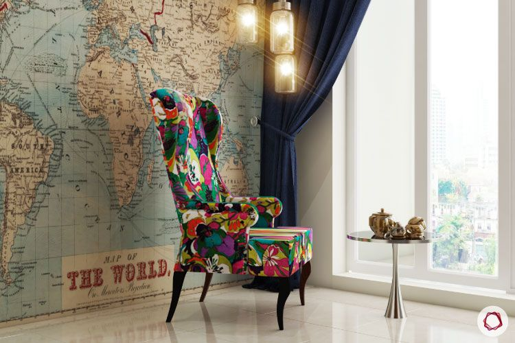 room decor for travel_world map wall_abstract accent chair_pendant lights