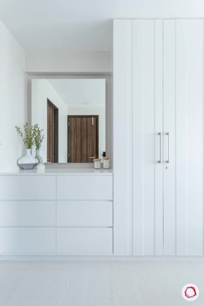 adani western-heights-white wardrobe designs-white chest of drawers