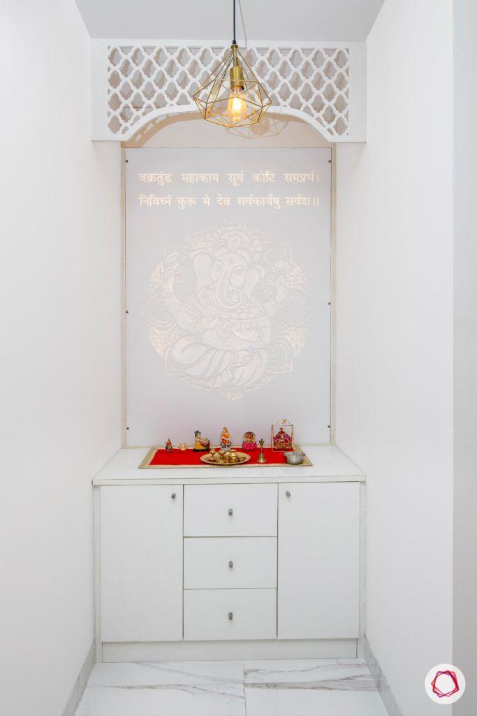 tdi ourania_pooja room_white unit_jaali panel