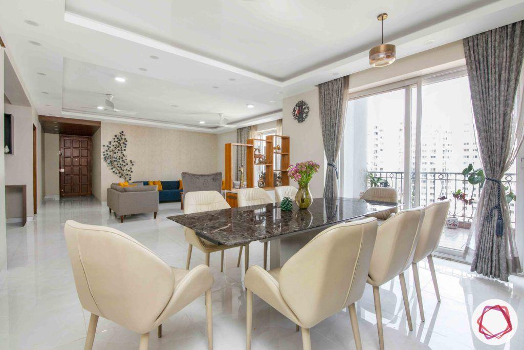 Shipra Srishti-dining-table-chairs-curtain-stone-beige-leatherette