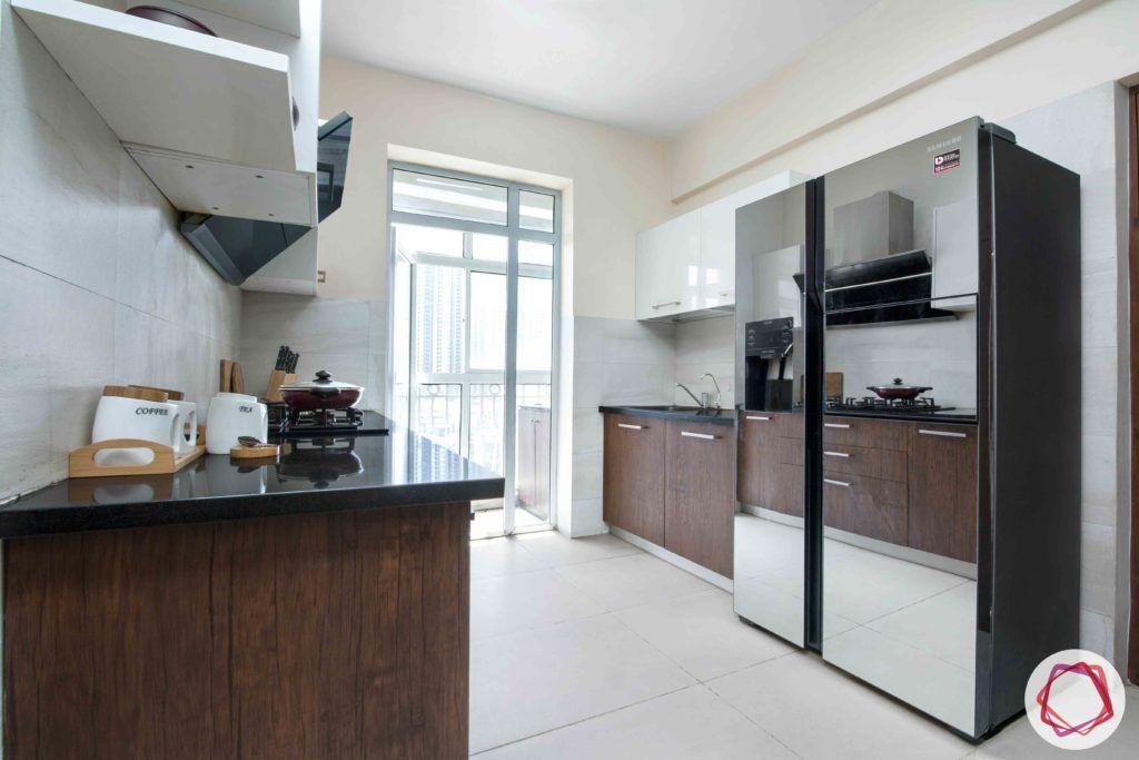 kitchen-white-brown-membrane-PU-cabinets-fridge