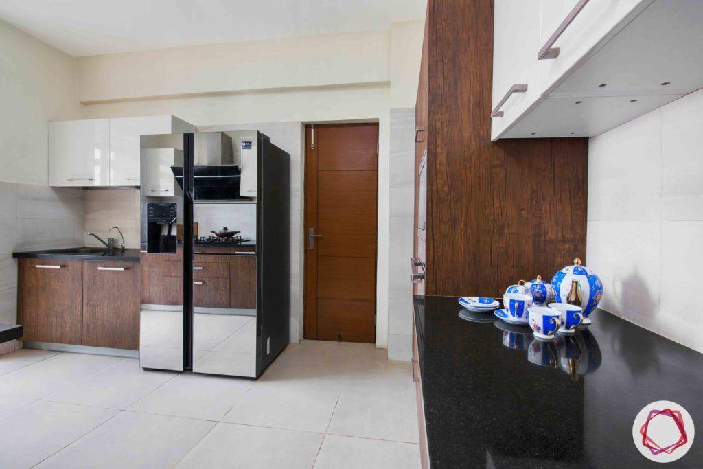 kitchen-white-brown-membrane-PU-cabinets-fridge-granite