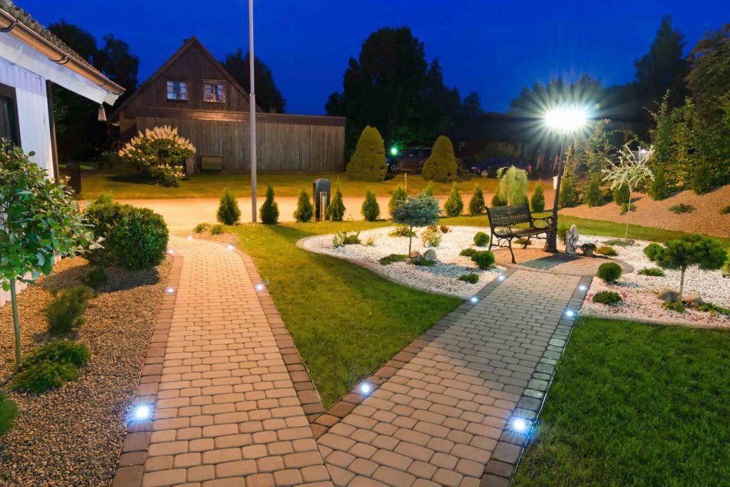 garden lights-in ground light-pathway-plants