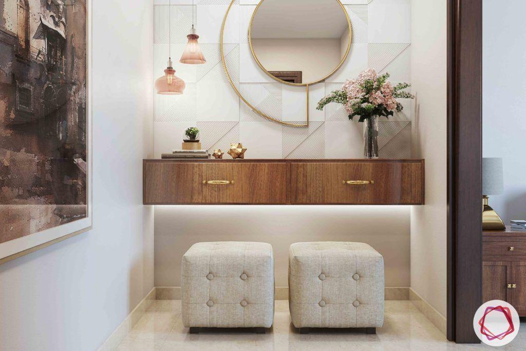passage design ideas-round mirror design-tufted ottoman designs