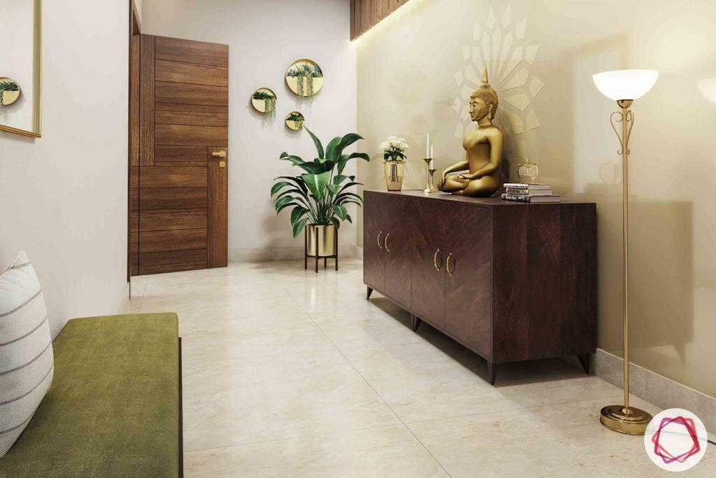 passage design ideas-wooden panel designs-buddha statue designs