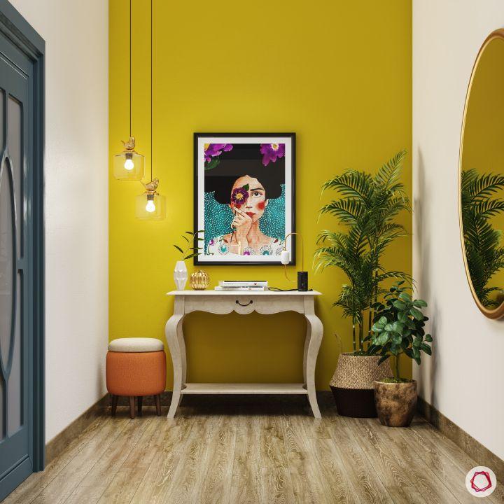 passage design ideas-yellow wall designs-white console designs