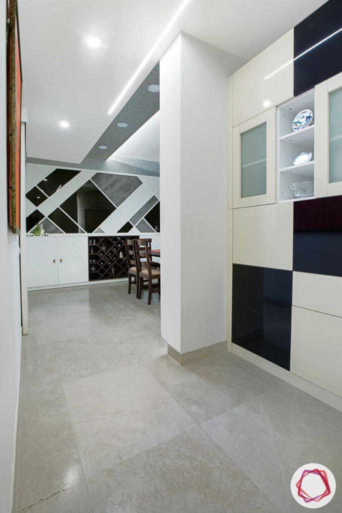 passage design ideas-crockery cabinet designs-black and white wall designs