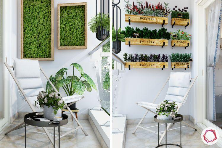 Balcony Makeover Idea-vertical garden-chairs-flower-centre-table