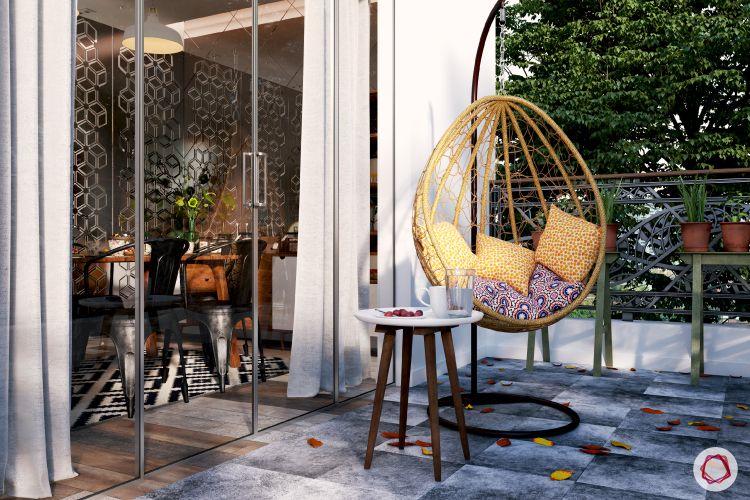 Balcony Makeover Idea-hammock-chair-balcony-door-pillows-floor-tiles