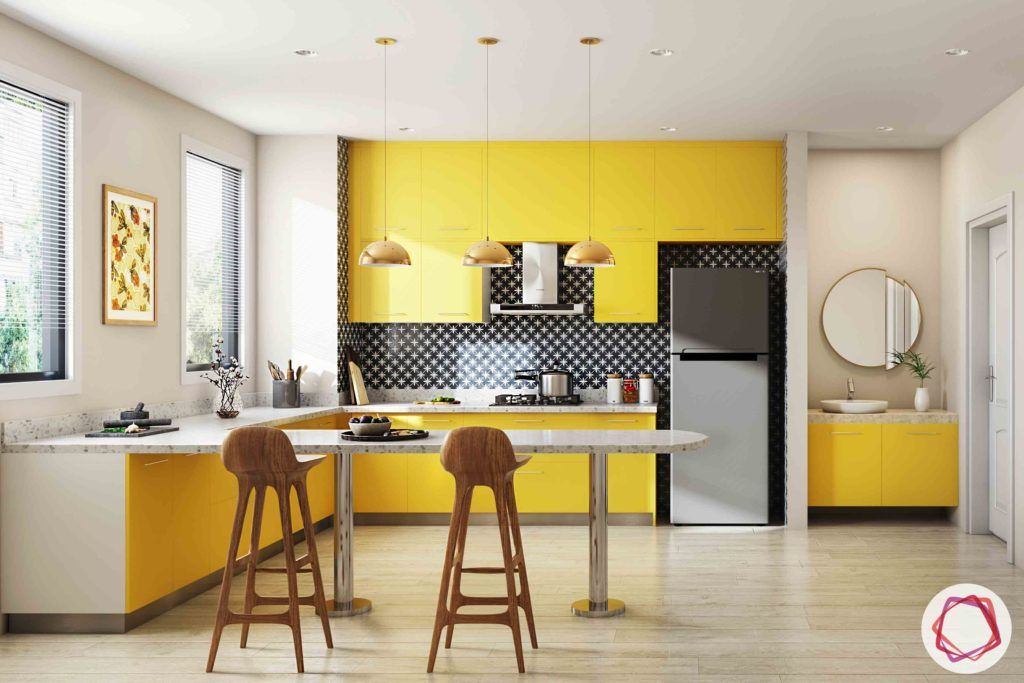 Vastu Colors for Kitchen-yellow-cabinets-handles-lights-chairs-breakfast-table