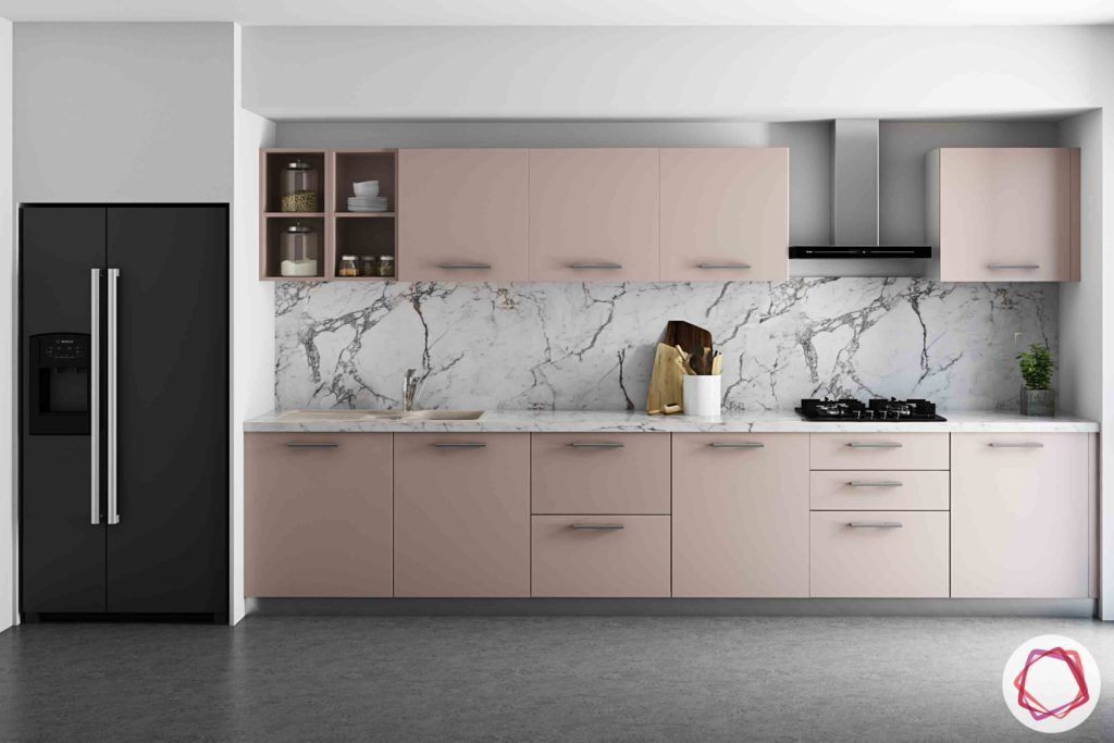 Vastu Colors for Kitchen-pink-cabinets-handles-tall-unit-sink-marble