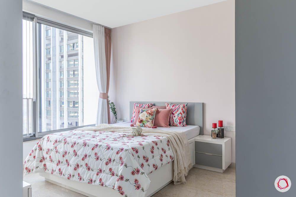 oberoi goregaon-pastel bedroom-grey and white room-cream walls