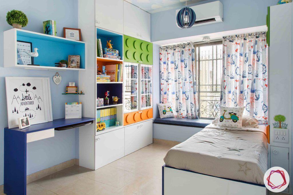 kids wardrobe designs-baskets-open shelves-blue and white wardrobe