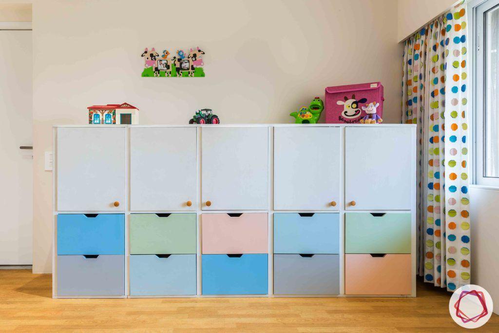 kids wardrobe designs-low maintenance finishes-pastel wardrobe-cabinets