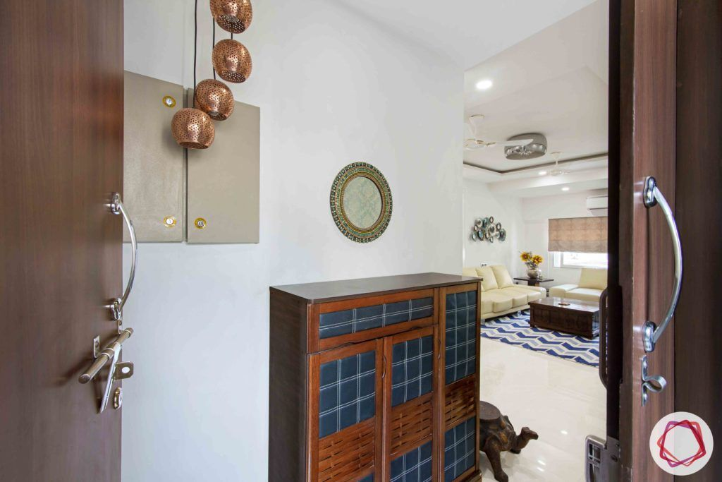 Old House Renovation-foyer-shoe-cabinet-pendant-lights-mirror