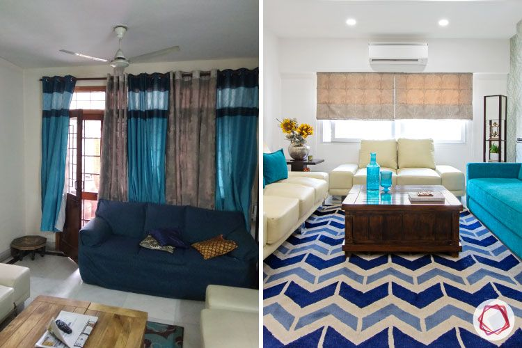 Old House Renovation-living-room-sofas-coffee-table-rug-wallpaper-before-after
