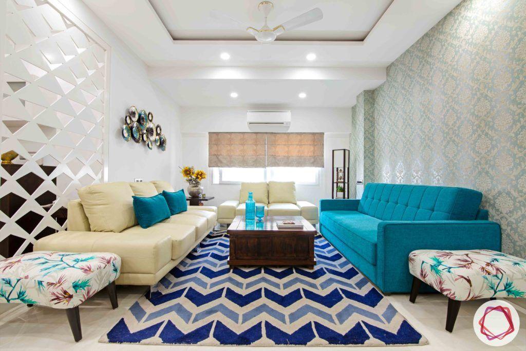 Old House Renovation-living-room-sofas-coffee-table-rug-wallpaper
