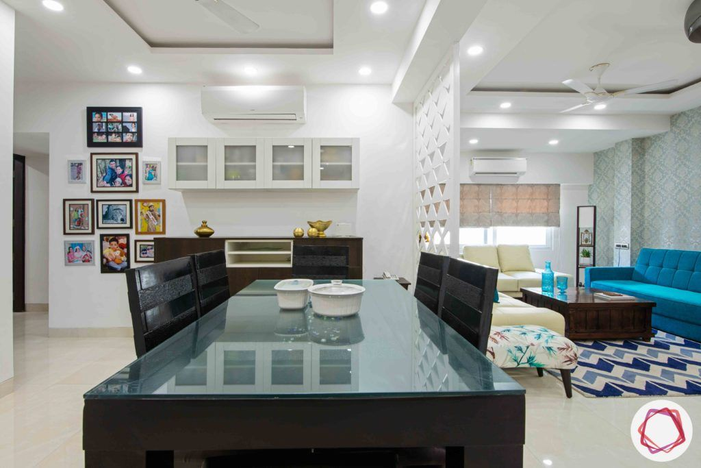 Old House Renovation-dining-room-chairs-table-glass-top-buffet-crockery
