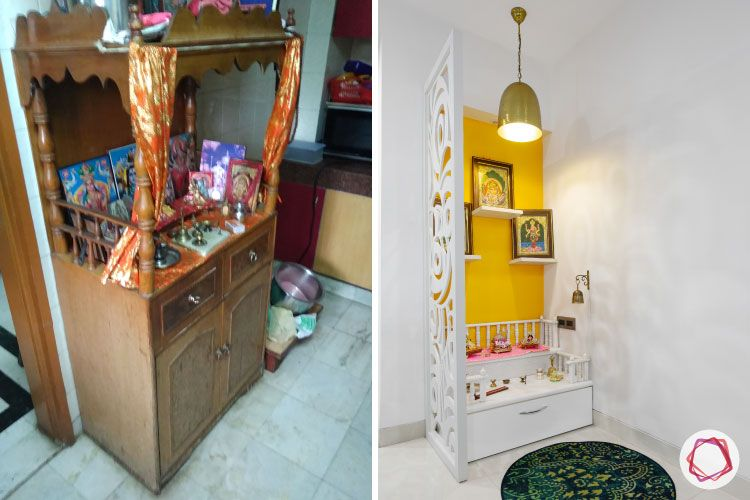 Old House Renovation-before-after-pooja-wood-white-yellow-paint