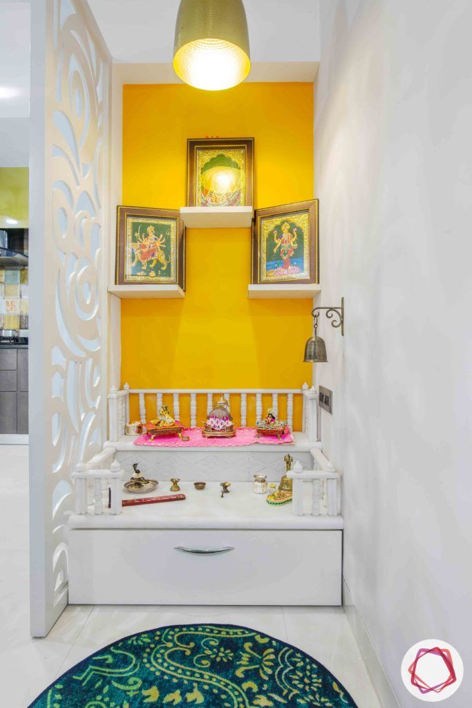 Old House Renovation-pooja-wood-white-yellow-paint-light-jali
