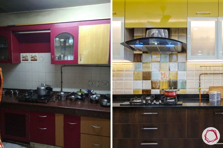 kitchen-before-after-sink-yellow-cabinets-wood-drawers-chimney