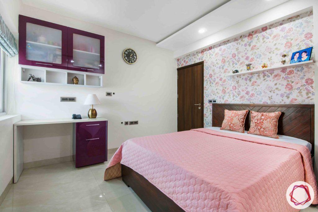 parents-bedroom-purple-study-drawers-bed-shelves-floral-wallpaper