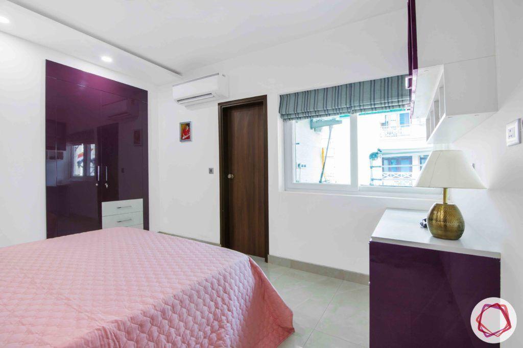 parents-bedroom-purple-study-drawers-bed-shelves-floral-wallpaper-wardrobe