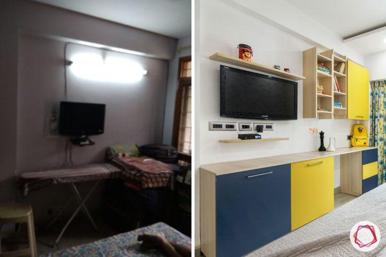 kids-bedroom-before-after-study-wood-TV-storage-display