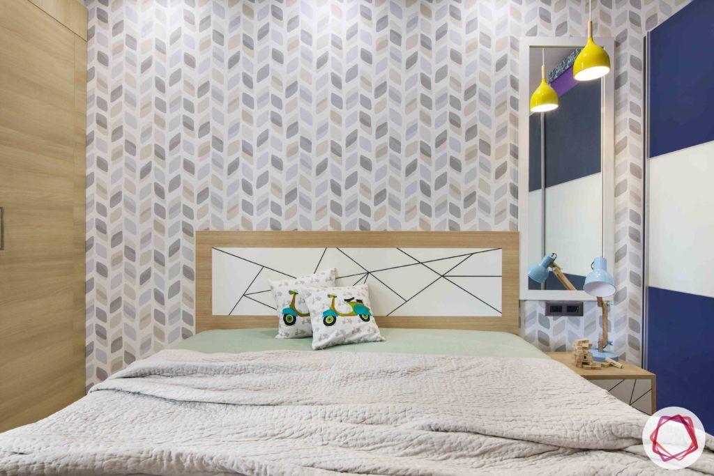 kids-bedroom-wallpaper-lights-wardrobe-lights-side-table-blue
