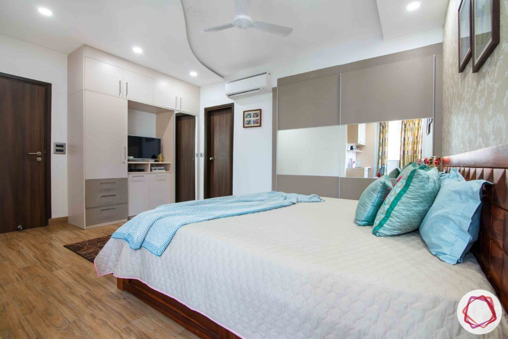master-bedroom-before-after-wardrobe-bed-wallpaper-TV-unit-wooden-floor