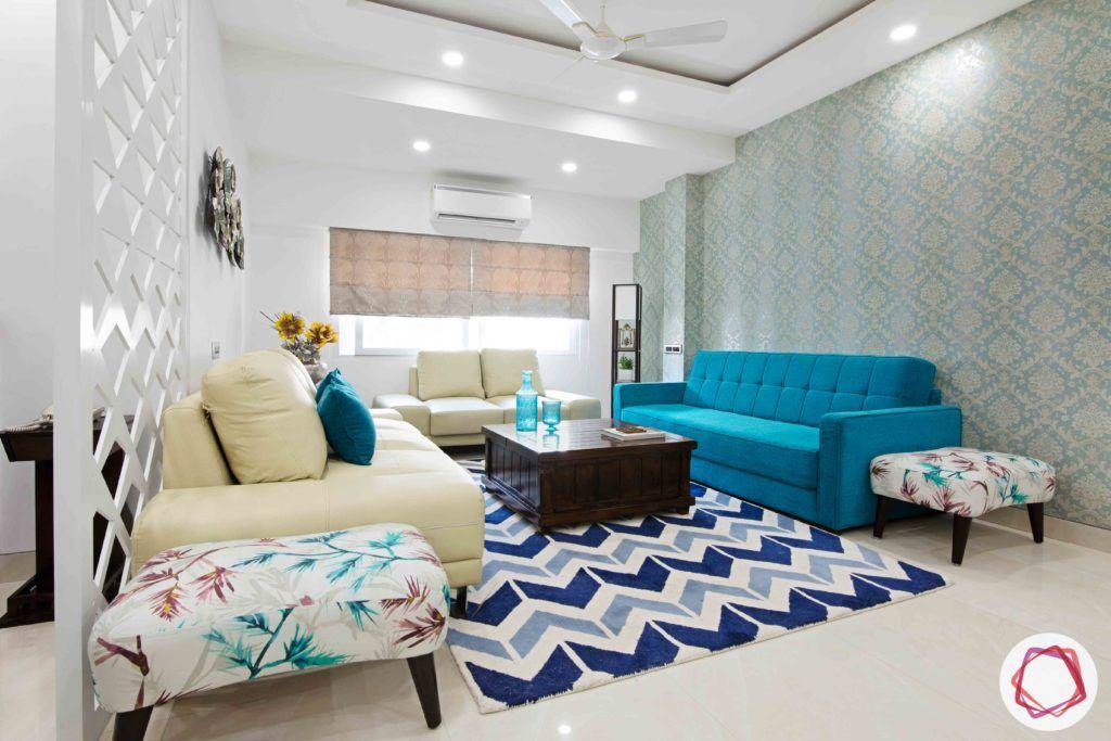 Old House Renovation-living-room-sofas-coffee-table-rug-wallpaper-ottomans