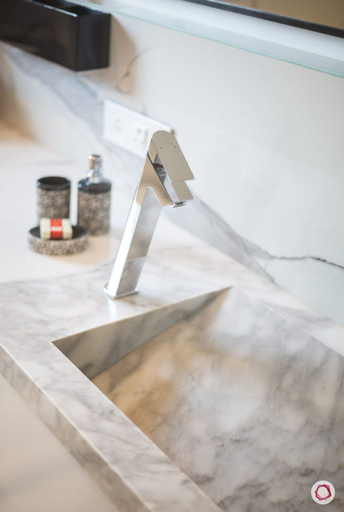 bathroom decor-faucets-marble-sink-white