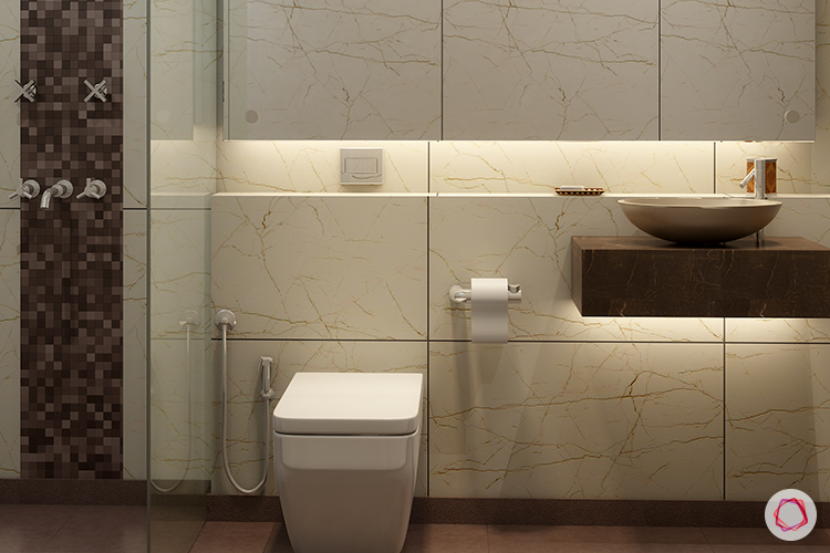 bathroom-lights-yellow-vanity-table-sink-shower