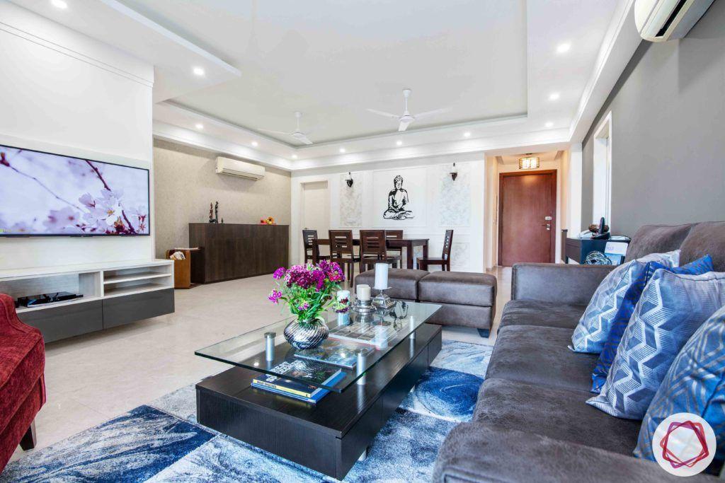 dlf gurgaon-minimal tv unit designs-blue carpet designs