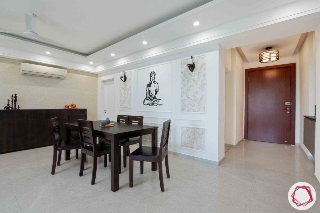 dlf gurgaon-wooden dining table designs-wall moulding designs