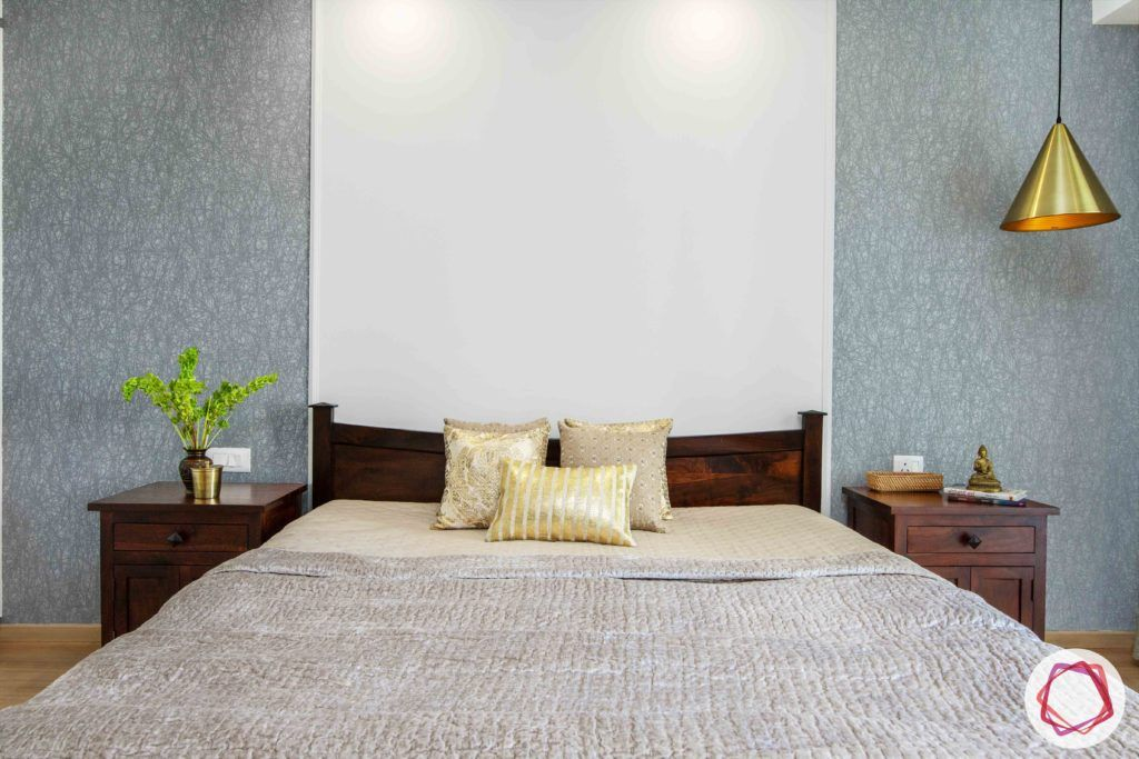 dlf gurgaon-wooden bed designs-grey wallpaper designs