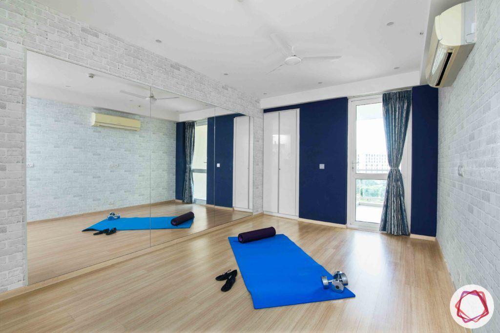 dlf gurgaon-wooden floor designs-blue wall paint designs