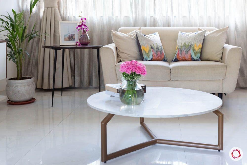 modern house images-living room-cream loveseat-modern centre table-side table
